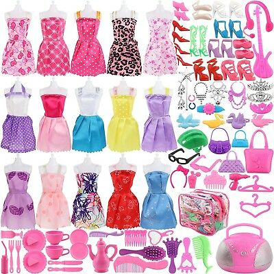 Girls kid 50pcs-9Pc Doll Clothes Party Gown Outfits+41pc Different Accessories