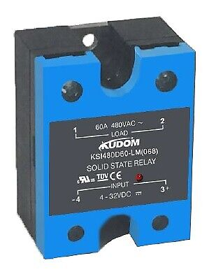 Kudom 25A 4-32Vdc Zero X Solid State Relay & Led With Integrated Ip Rated Cover