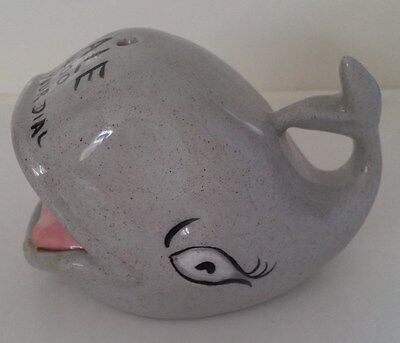 Gray Whale Ashtray Hole on Top For Smoke By Lucille Ceramics