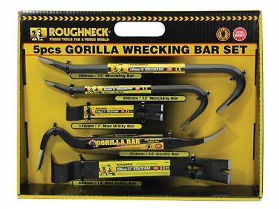 Heavy Duty 5pc Roughneck Gorilla Wrecking Bar Pry Bar Crowbar Set Kit New