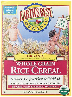 FRESH! Earth's Best Organic, Whole Grain Rice Cereal, 8 Ounce (Pack of 12)