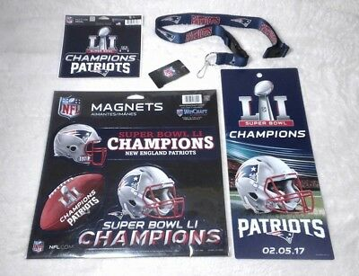 New England Patriots Super Bowl LI Champions Magnets Decal Ticket Sign Lanyard