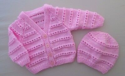 Newborn Baby Girls Cardigan Jacket Hand Knitted With Hat Pink Stripe