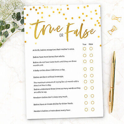Baby Shower Games True or False Quiz ~ Boy / Girl / Unisex (10 Player)