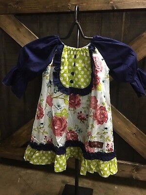 Bloom & Blossoms w/navy leggings girls outfit with leggings