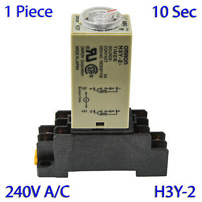 (1 PC) H3Y-2 Omron 240VAC Timer Relay DPDT 8 Pin 5A (10 Sec) with Socket Base