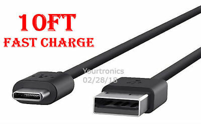 10FT Type C Fast Charging Cable USB-C Rapid Cord Power Sync Charger Charge