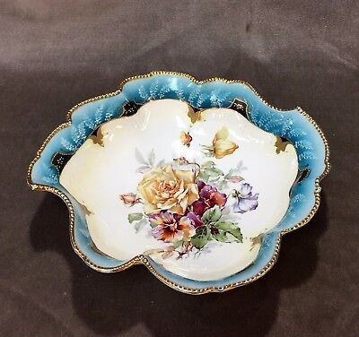 """Royal Vienna Germany Beaded Gold Moriage Porcelain """"Rose Bouquet"""" Serving Bowl"""
