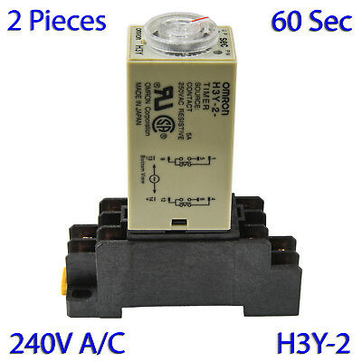 (2 PCs) H3Y-2 Omron 240VAC Timer Relay DPDT 8 Pin 5A (60 Sec) with Socket Base