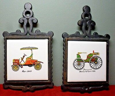 Set of 2 Small CAST IRON TRIVETS w. Ceramic Tile ~ Antique Cars ~ Made in Japan
