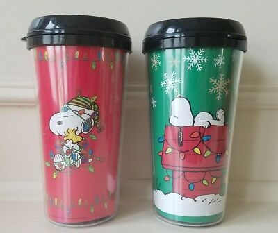 Set of 2 PEANUTS SNOOPY TRAVEL TUMBLERs CUPs with LID 16 OZ CHRISTMAS NEW!