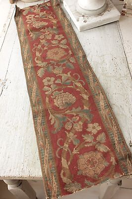 Antique French printed tapestry border fabric 19th century