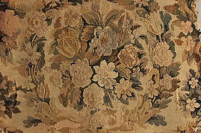 Antique French Tapestry panel Aubusson hand woven chair back textile French ~