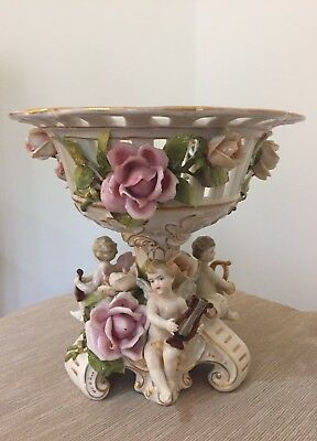 VON SCHIERHOLZ PORCELAIN COMPOTE ANGELS WITH INSTRUMENTS PINK ROSES c. 1907-1927