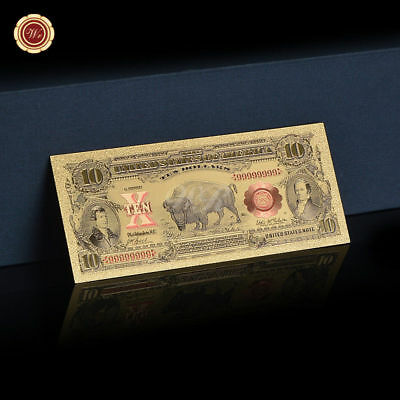 WR $10 1901 Bison United States Note Colored Gold Foil Arts Ten Dollar Banknote
