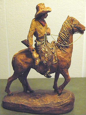 """the Trail Boss"" 1976 Daniel Monfort Western Hydro Stone Sculpture Hand Painted"