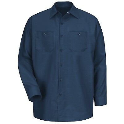 Red Kap Mens Long Sleeve Industrial Work Shirt - Navy