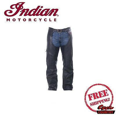 Genuine Indian Motorcycle Men's Chaps Leather Black New Scout Chief Roadmaster