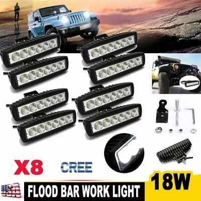 8X 6Inch 18W CREE LED Work Light Bar Flood Offroad Fog Lamp 4WD SUV Driving Boat