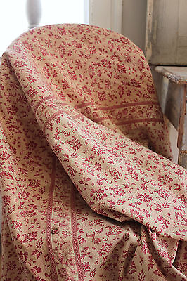 Antique French floral Chintz w/ border Jouy printed cotton fabric textile c1830