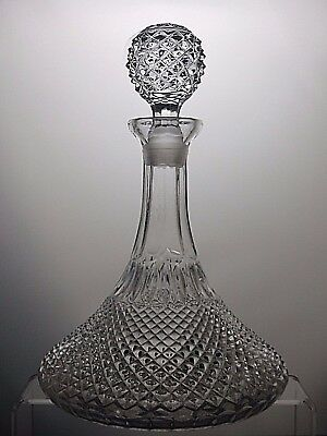 Lovely Pressed Glass Crystal Hobnail Style Ships Decanter With Stopper