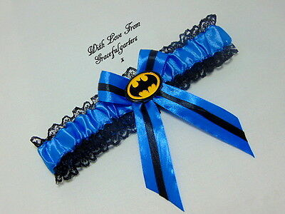 Blue Batman Lace Bridal Wedding Garter. Suicide Squad.