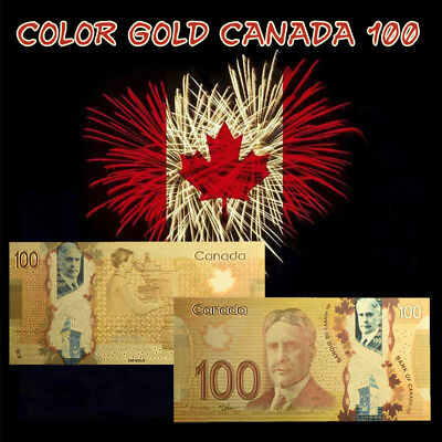 WR $100 Canada Dollar Polymer Banknote Colored Gold Foil Money For Collection