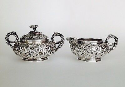 Antique Kirk & Son Co. Sterling Silver Repousse Cream & Sugar -  Hand chased.