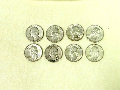 Lot of 8 Pre 1965  90% Silver Quarters Dates Very Readable Unsearched