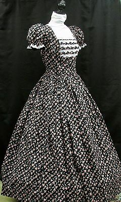 Civil War Day Gown, Black with Rose & White floral pattern, white lace trim