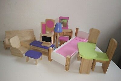 Wooden Doll House Furniture Larger Scale Fit Up To Barbie Lounge Dining Bed Aud