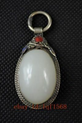Old Decorated Handwork Miao Silver Carving Flower Inlay White Jade Noble Pendant