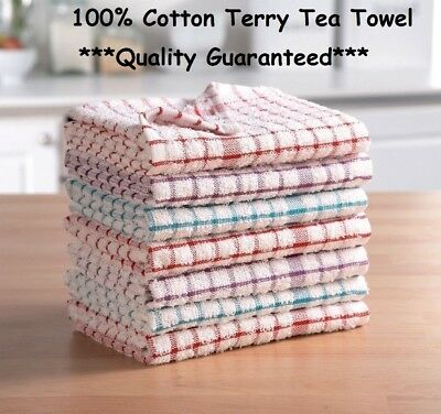 Terry 100% Cotton Tea Towels Set Pack of 3,6,9 & 12 Kitchen Dish Cloths Cleaning