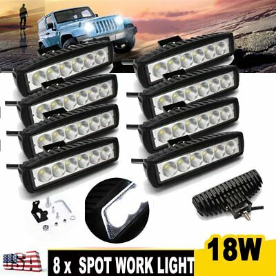 8X 18W 6inch Spot LED Work Light Bar Driving Lamp 4WD SUV Truck UTE Offroad ATV