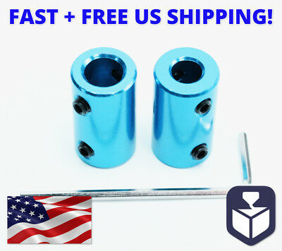 2pc 6.35mm to 8mm Aluminum Flexible Shaft Coupling Rigid Coupler Motor Connector