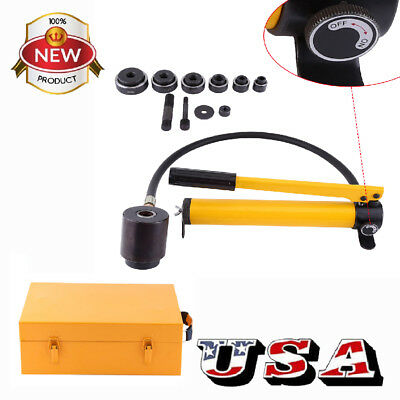 "15 ton 1/2"" to 4"" Hydraulic Knockout Punch Kit Hand Pump 10 Dies Tool Hydra US"