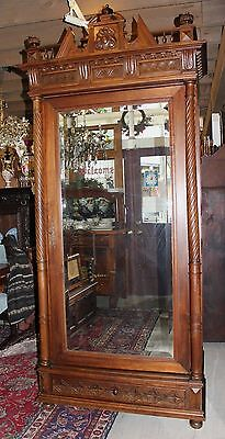French Antique Gothic Single Door Armoire Carved Walnut With Mirror & Drawer