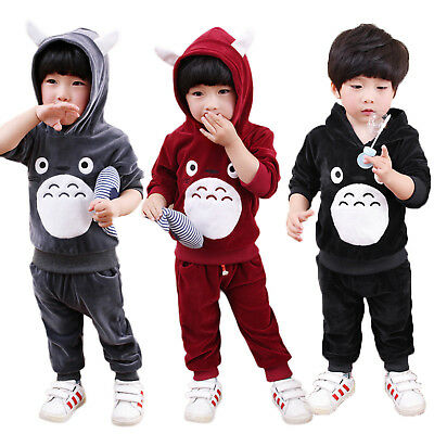 Toddler Kids Baby Boys Girl Hooded Hoodies Outfits Clothes Tops + Pants 2PCS Set