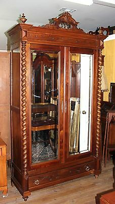 Beautiful French Antique Louis XIII Walnut 2 Door Beveled Mirror Armoire