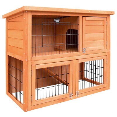 Double Storey Rabbit Guinea Pig Hutch Pet Cage House With Easy Access top