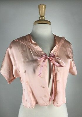 Pretty! VTG 30s 40s Pale Pink Embroidered Rayon & Silk Cropped Bed Jacket Robe S