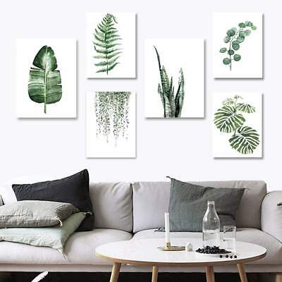 Nordic Green Plant Leaf Canvas Art Poster Print Wall Picture Home Decor UK