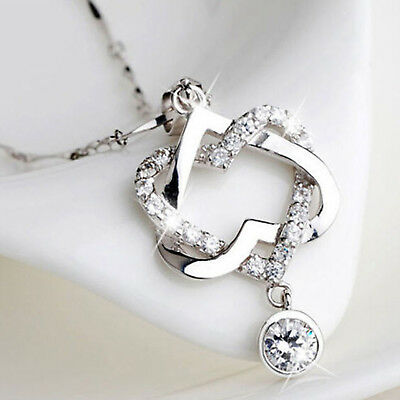 Fashion 925 Silver Plated Women Double Heart Pendant Necklace Chain Jewelry Best