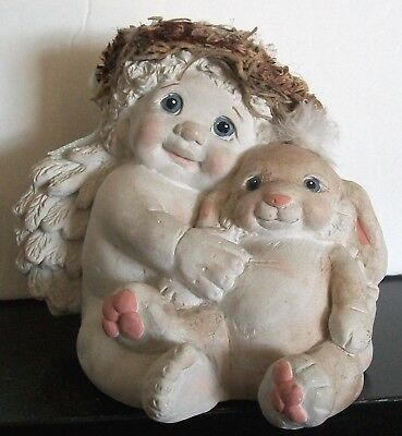 DREAMSICLES ~ Cherub with Bunny, Best Buddies, *Rare* Kristin 1995 ~ FIGURINE