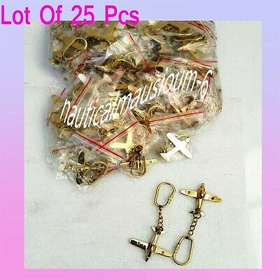 Brass Keychain, Beautiful Airplane Solid Brass Key Rings 25 pcs With keyring New