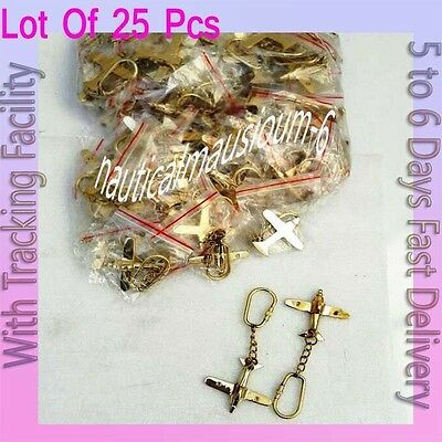 Brass Key Chain, Beautiful Airplane Solid Brass Key Rings 25 pcs With keyring