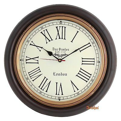 Artshai Antique Look 16 inch Wood and Brass Wall Hanging Wall Clock Home Decor