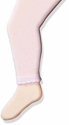 Jefferies Socks Baby Girls' Cotton Footless Tights with Scalloped Edge, Pink,