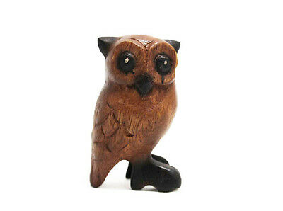 "Small Wooden Owl 3.5"" tall, Home & Office Decor, Hand Carved Cute Bird - NEW, SM"