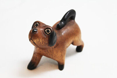 "Hand Carved Small Wooden Dog, Home & Office Decor, Cute Dog 3.5"" tall -  NEW"